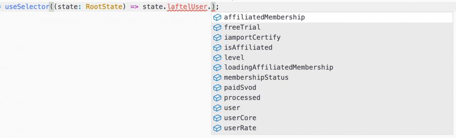 만약 TypeScript를 쓴다면 다음과 같이 자동완성이 되기 때문에 생산성에 큰 도움을 줍니다.